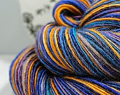 SALE Handspun Yarn Gently Thick and Thin DK Single Blue Faced Leicester and Tussah Silk Blue Moon Fiber Arts 'After Sundown'