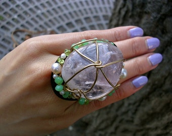 Constellation ll - Statement Ring with Rose Quartz, Jade and Peridot (CS-10)