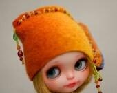 Rainbow Elegant Beads Hat OOAK Blythe Felted Hat  Rainbow  Hat for Blythe Outfit Blythe