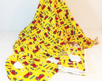 Yellow Firetruck print Layette Set Flannel Blanket, bib and burp cloths set