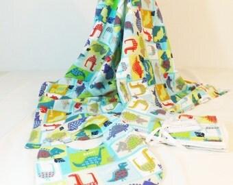 Layette Set Flannel Blanket, bib and burp cloths set dinosaur patchwork print