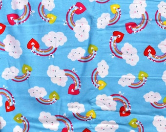 Flannel pants pajama dorm lounge made to order your choice size XS - 2X happy clouds and rainbows print