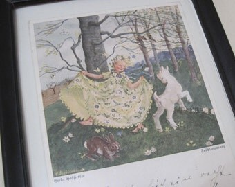 Woodland Nympth - vintage, antique 1930s Framed Postcard - lithograph of a girl in forest with lamb, song birds, and a bunny