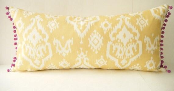 Bohemian Bedding Butter Yellow And Purple Long Bolster