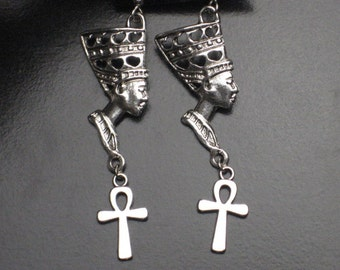 Large Metal Nefertiti Earrings with Ankh
