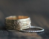 Classic Art Nouveau 14K Gold Filled Band & Twisted Silver Stacking Ring w Secret Message- Modern Meets Classic