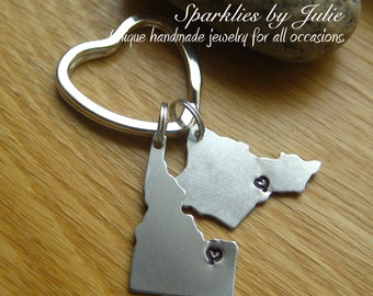 Birth Places Keychain - Hand Stamped Aluminum US States, Silver Plated Key Ring, Family, Children, Husband Wife, Sisters, Best Friends