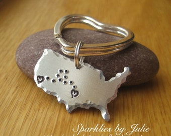 Far From Home Keychain - Hand Stamped Aluminum USA, United States, Silver Plated Key Ring