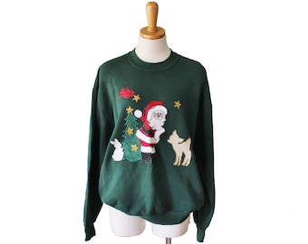 Vintage Ugly Christmas Sweater - Green Novelty Santa Iron On Sweatshirt Women Men L