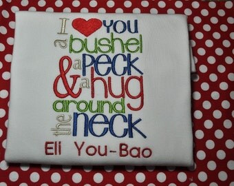 Personalized Monogrammed Bushel and a Peck Valentine Shirt