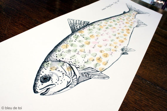 Wedding guest book alternative fingerprint rainbow trout for Guests and fish