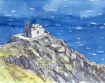 Sifnos Seven Martyrs Church Greece art print from an original watercolor painting