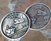 2004 Florida State Quarter Cufflinks space shuttle Jewelry cuff links by Custom Coin Rings