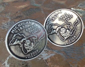 2004 Michigan State Quarter Cufflinks jewelry by Custom Coin Rings Cuff LInks