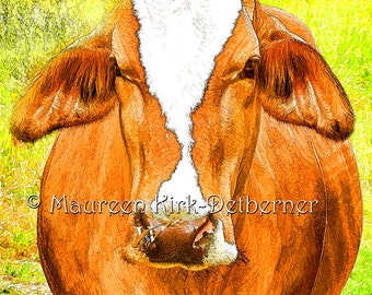 Cow art, bovine, red cow, African Brahma, funky country decor, green yellow, pasture, cow decor, farm decor, FastWinn Photography, cow photo