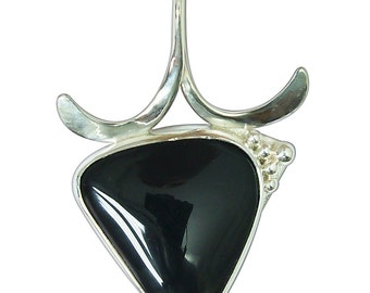 Black Onyx and Sterling Silver Pendant  ponxf2374