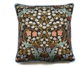 Sanderson William Morris Blackthorn Arts and Crafts brown, blue, mid 60s vintage fabric 18 inch cushion, throw pillow, home decor.