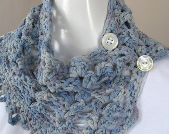 Blue Button Up Cowl Crocheted in Silk Yarn with Mismatched Vintage Mother of Pearl Buttons