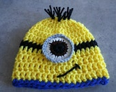 Newborn Size, Crochet Minion inspired Hat