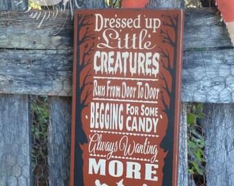 Little Creatures, Halloween, Primitive, wood sign