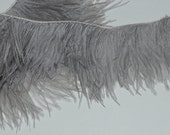 NEW Color and Height - 4 inches of Gray Ostrich Fringe Trim