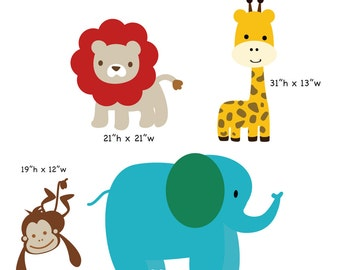 Jungle animal decals elephant giraffe lion monkey safari wall decals nursery boy girl