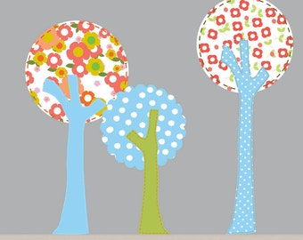 Vinyl Wall Decal Polka Dot Tree Set with Owls Nursery Baby