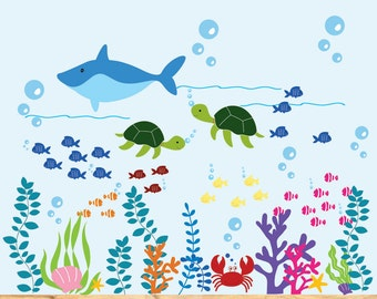 Vinyl Wall Decal  Kids Dolphin Wall Decal Ocean Nursery Decal Fish Wall Decals
