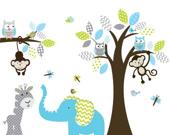 Boy Nursery wall decal jungle decals baby nursery decals polka dot giraffe pattern elephant monkeys owl  birds