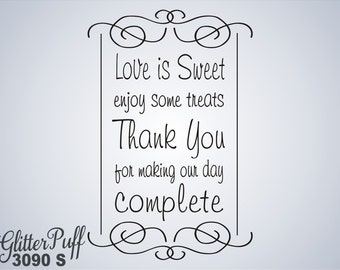 Love is Sweet Rubber Stamp - Wedding Rubber Stamp - Candy Cookie Treat Bag -   (G3090 Stock)