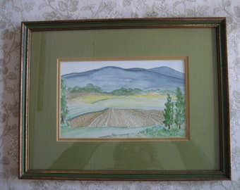 pretty framed vintage watercolor landscape painting