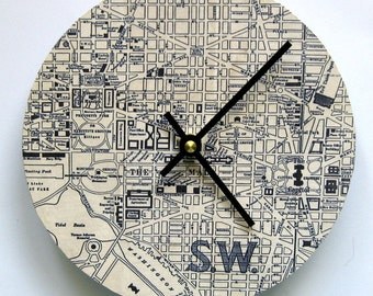 Map clock. Clock made from a 1924 map of Washington, DC. Wall clock.  Map of Washington, DC