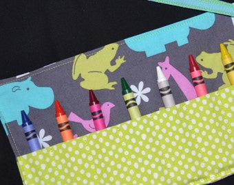 Crayon Roll - Little Girls Safari Birthday Party Favor - Zoo Birthday for girls, STOCKING STUFFER, jungle safari party, orchid and turquoise