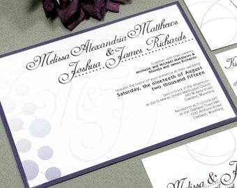 Monogram Wedding Invitation Suite, Purple Wedding Invitations Purple, Ombre Wedding Invitation Pocket Folder, Calligraphy Wedding Invites