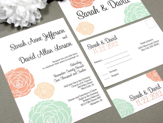 Classic Vintage Flowers Wedding Invitation Set by RunkPock Designs : Script Calligraphy Floral Suite shown in coral / mint green / peach
