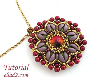 Tutorial Aurora Pendant - Beading tutorial, PDF, Instant download,beading pattern with Piggy beads