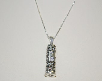 Sterling Silver 925 Cut Out Jewish Chai Symbol MEZUZAH Pendant and BOX Chain Necklace, Scroll included - Real Silver - Free Shipping.