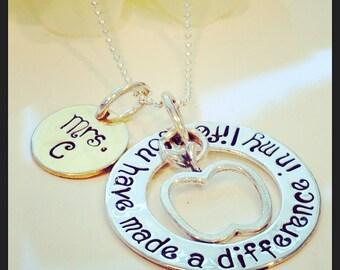 Personalized Teacher Gift,Gift For Retirement,Retirement Gift,Teacher Necklace,Teacher Appreciation Gift, Apple
