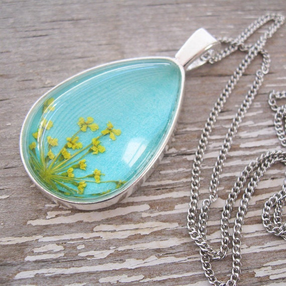 Real Pressed Flower Necklace - Yellow and Turquoise Queen Anne's Lace Botanical Teardrop Necklace
