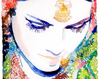 Large Canvas Archival Print, Ready to hang,  from Original Watercolor Fashion Illustration, Indian Bride, Indian Wedding, Indian Wall art