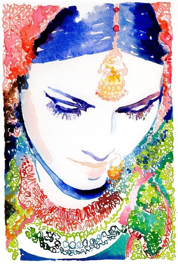 Indian Bride Print, Indian Fashion Illustration, Watercolor Fashion Illustration, Indian Wedding, Indian Bride, Nose Ring, Sari