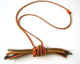 BUNDLE OF STRAW ZipperTextile Handmade Orange Yellow Necklace