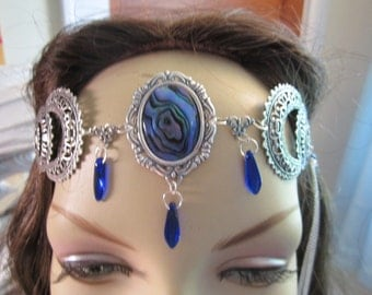 Sapphire Circlet of the Mermaids Night Elven Celtic Druid LARP Bridal Cosplay Renaissance