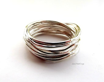 Sterling Silver Soldered Multi-Ring Interweaving Layers, Made to Order in Your Size.