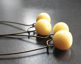 SALE Last Pair of Dangle Earrings, Drop Glass Earrings, Gift for Her, Boho Chic Earrings, Yellow Drop Earrings, Gift Box