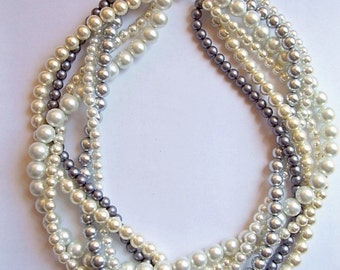 braided twisted pearl necklace chunky statement pearl necklace Bridesmaid Bridal custom order necklaces