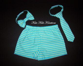 Toddler Boy's Shorts, Chevron Fabric,  Photo Prop, Size 2T, Ready to Ship