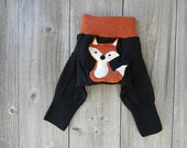 Upcycled  Wool Longies Soaker Cover Diaper Cover With Added Doubler Black /Orange With Fox Applique NEWBORN 0-3M