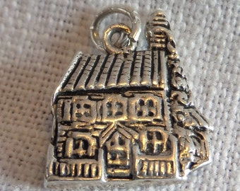 IRISH Thatched Roof Cottage Sterling Silver Charm or Pendant