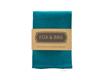 Teal Linen Pocket Square
